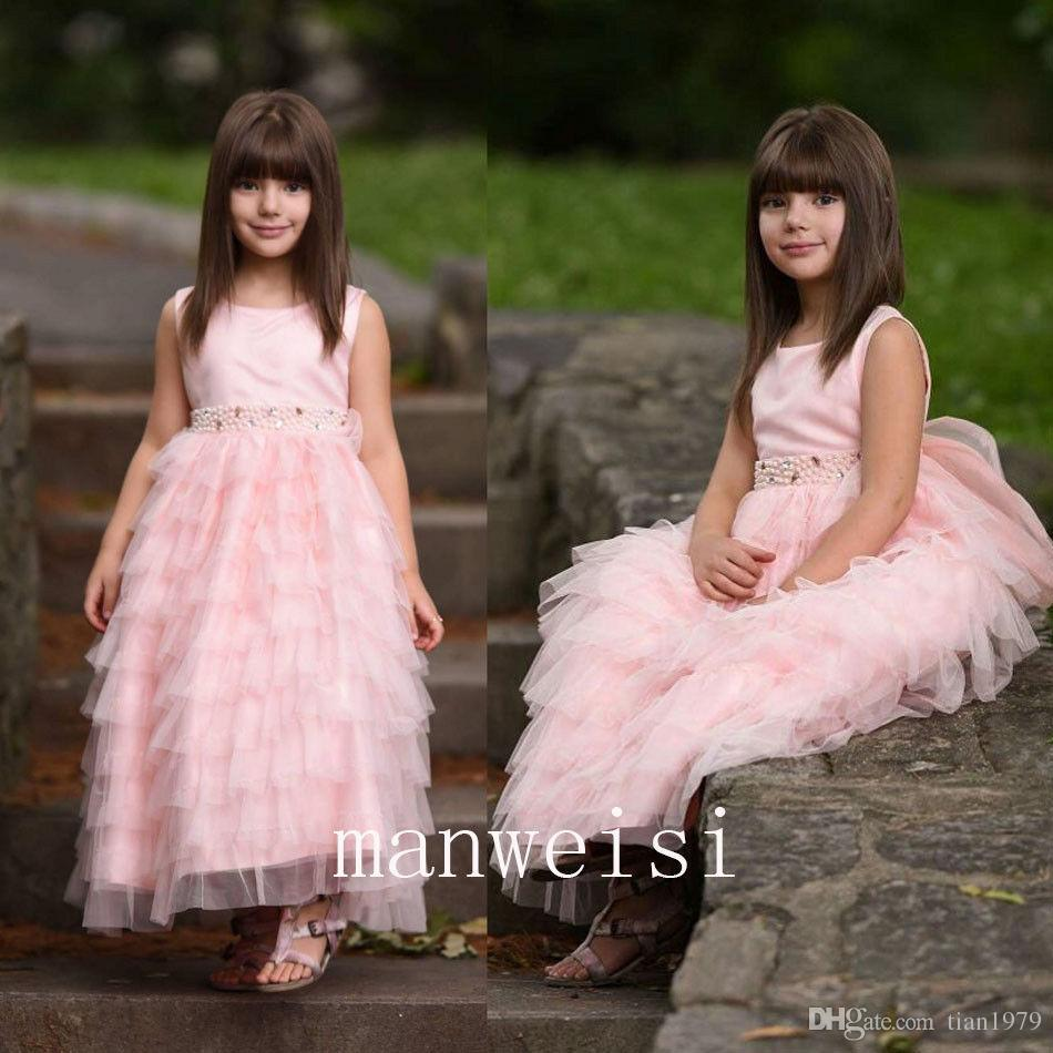 2018 Light Pink Ball Gown Flower Girls Dresses For Wedding Party Lace Appliques Big Bow Formal First Communion Party Gowns Custom Made
