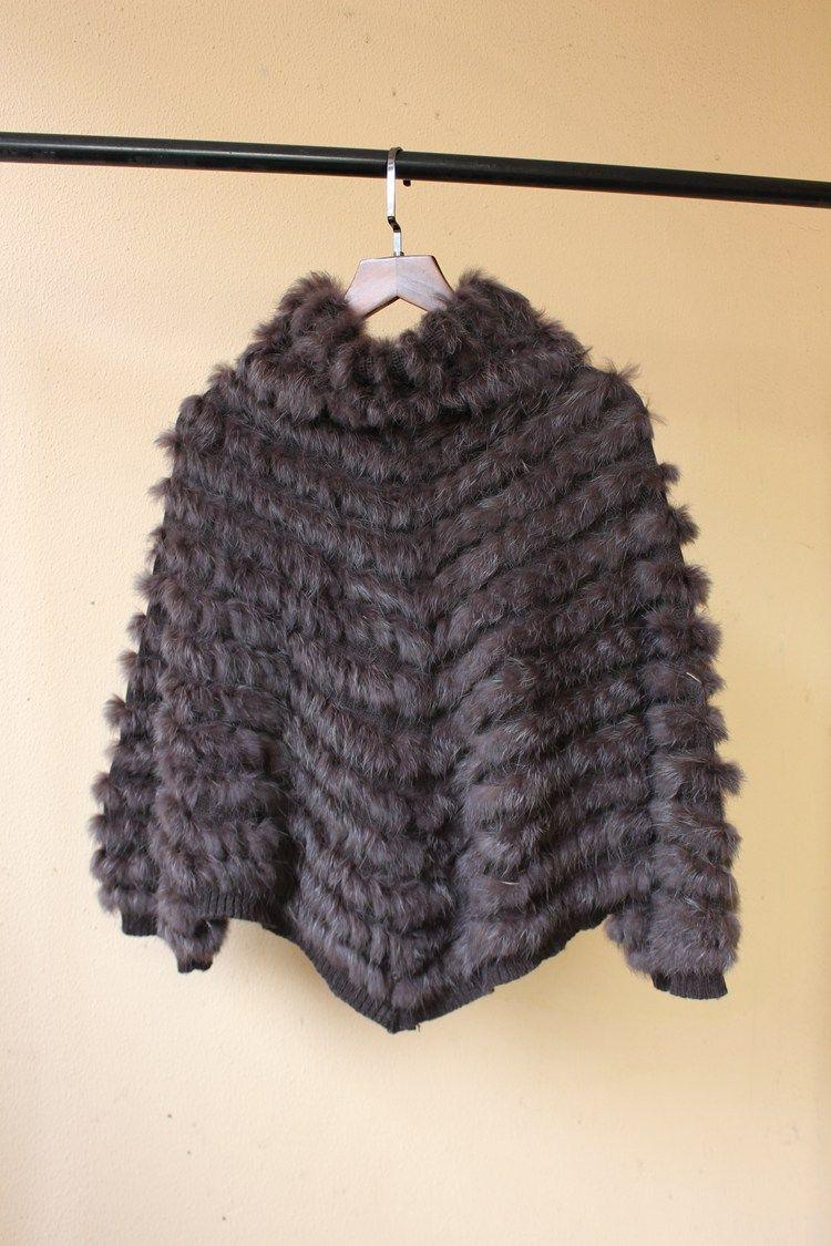 2018 novas mulheres moda genuína de malha poncho de pele de coelho com manga virar gola grande tamanho pashmina capes e xales femme
