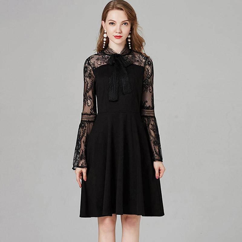 2019 2018 Autumn Womens Runway Dresses O Neck Long Flare Sleeves