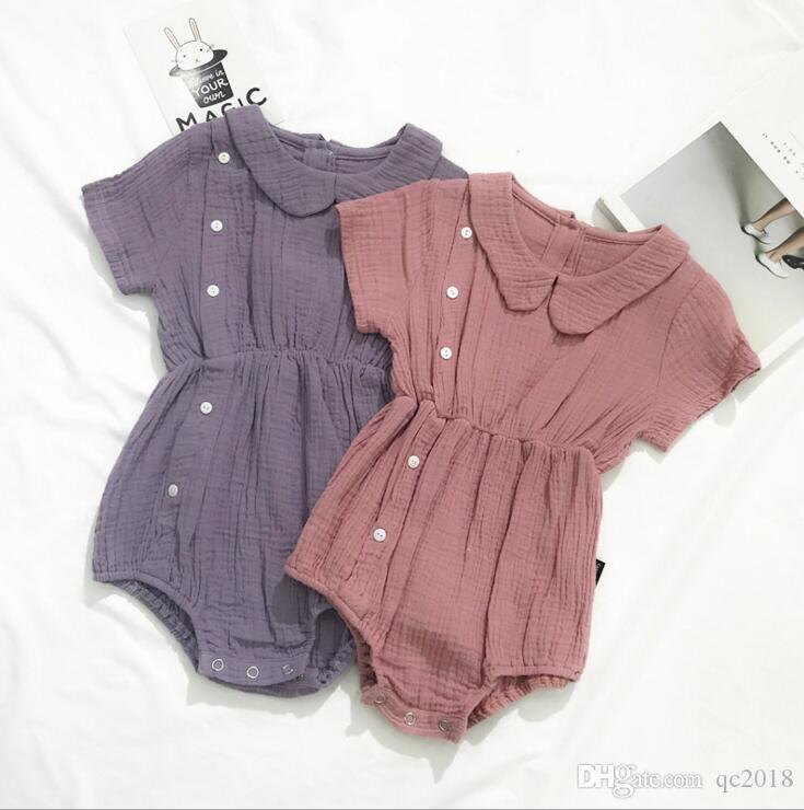 85447675b63d 2019 Wholesale Infant Baby Girls Cotton Linen Romper Soft Summer Autumn  Cute Newborn Babys Jumpsuits Button Clothing 0 6Y From Qc2018