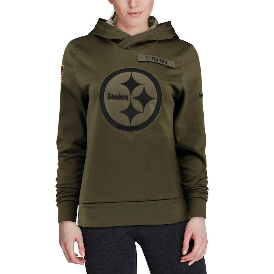 215dd26fb77 2019 Pittsburgh Women Sweatshirt Steelers Salute To Service Sideline Therma  Performance Pullover American Football Hoodie Olive From Jerseysfafa07