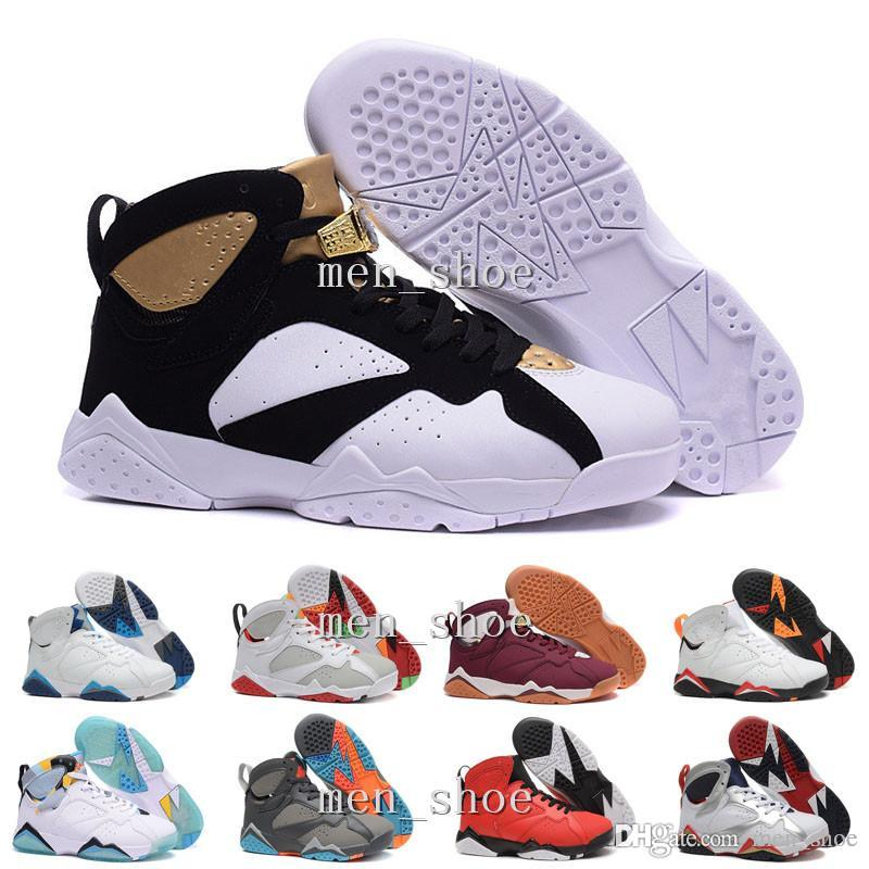 [With Box]Wholesale Men 7 VII Basketball Shoes Cheap Good Quality Men 7S For Sale Cheap Sports Shoes Leather Mens New Basketball Shoes