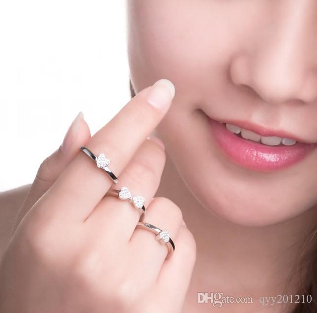 Anel de trevo anel de jóias de três conjuntos de casamento combinado conjunto de mulheres de prata esterlina trevo jóias rosa anel de cor de ouro