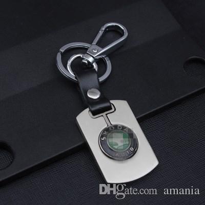 Véritable porte-clés en cuir pour Volkswagen Toyota Honda NISSAN Porte-clés Creux plaqué argent porte-clés