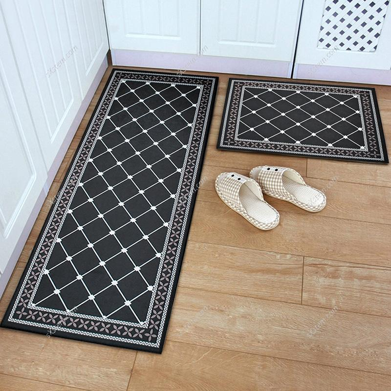 White Kitchen Floor Mats: Nordic Flannel Grid Doormat Soft Plush Carpet Kitchen