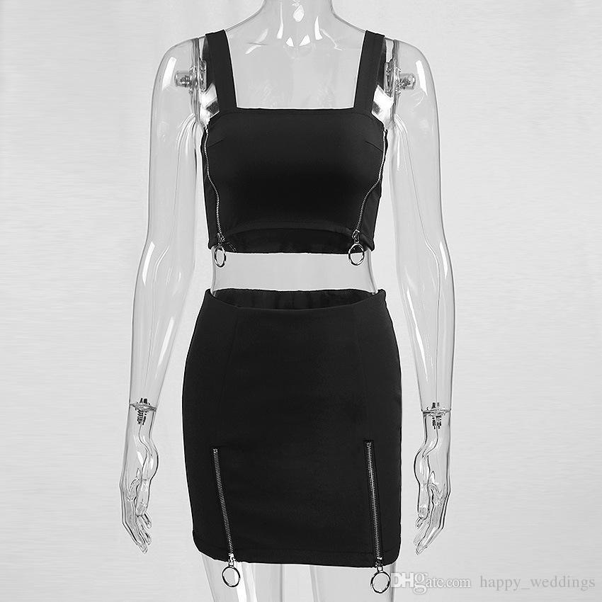 Frauen-reizvolle schwarze 2 Stücke stellten Minikleid und beschnittenes Halter-Oberseiten-Art und Weise 2018 Sommer-weibliche Reißverschluss-Weste und Rock ein Satz Femme