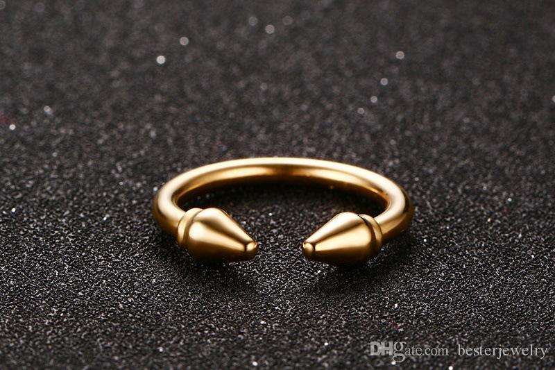 2018 High Quality 3mm Cuff Band Rings Arrow Ring Stainless Steel Gold Finger Rings for Women Jewelry