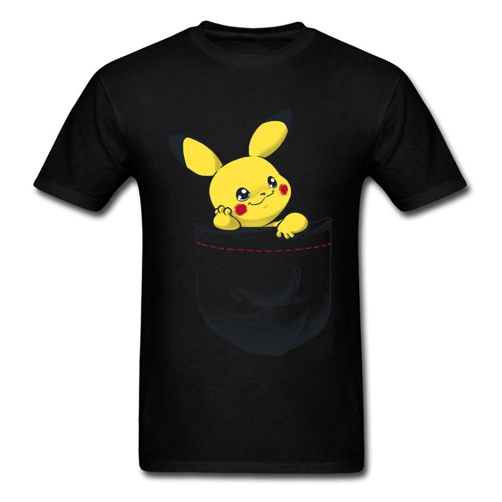 33568a19d757dc Pika Pocket Tee Men Cute Tshirt Wholesale Discount Tops Pikachu T Shirt  Pocket Monster Clothing Japan Kawaii Anime Tees 3d T Shirt T Shirt Shop  Design Crazy ...