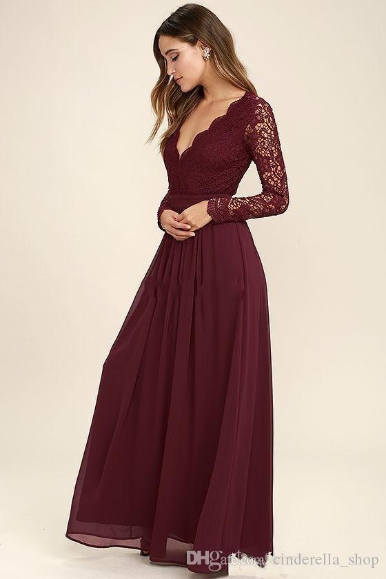 2020 Burgundy Lace Bohemian Bridesmaid Dresses Long Sleeves Hollow Back Beach Boho Country Wedding Guest Dresses Floor Length