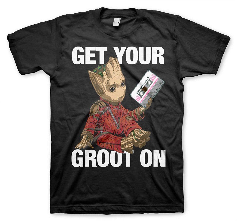 da7940e330 Compre Get Your Groot Em T Shirt Dos Guardiões Da Galáxia 2 Moda O Pescoço  Camisas De Manga Curta T Verão Engraçado Camisa Do Punk Solto Para Homens  De ...
