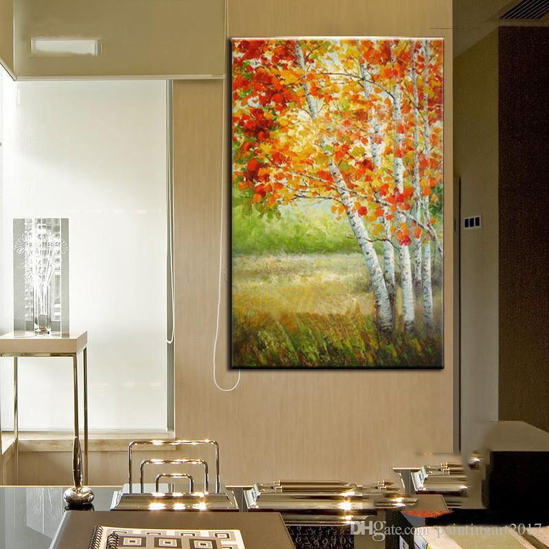 100% Hand Painted Large Abstract Oil Painting On the Canvas Red and Brown Maple Trees Pictures Art Home Decoration