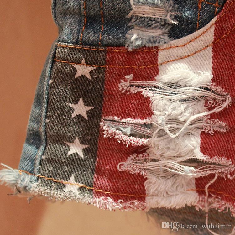 Sexy Vintage Bikini Mujer Jean Denim Booty Shorts Feminino cintura baja American US Flag Tassel Night Club Super Short
