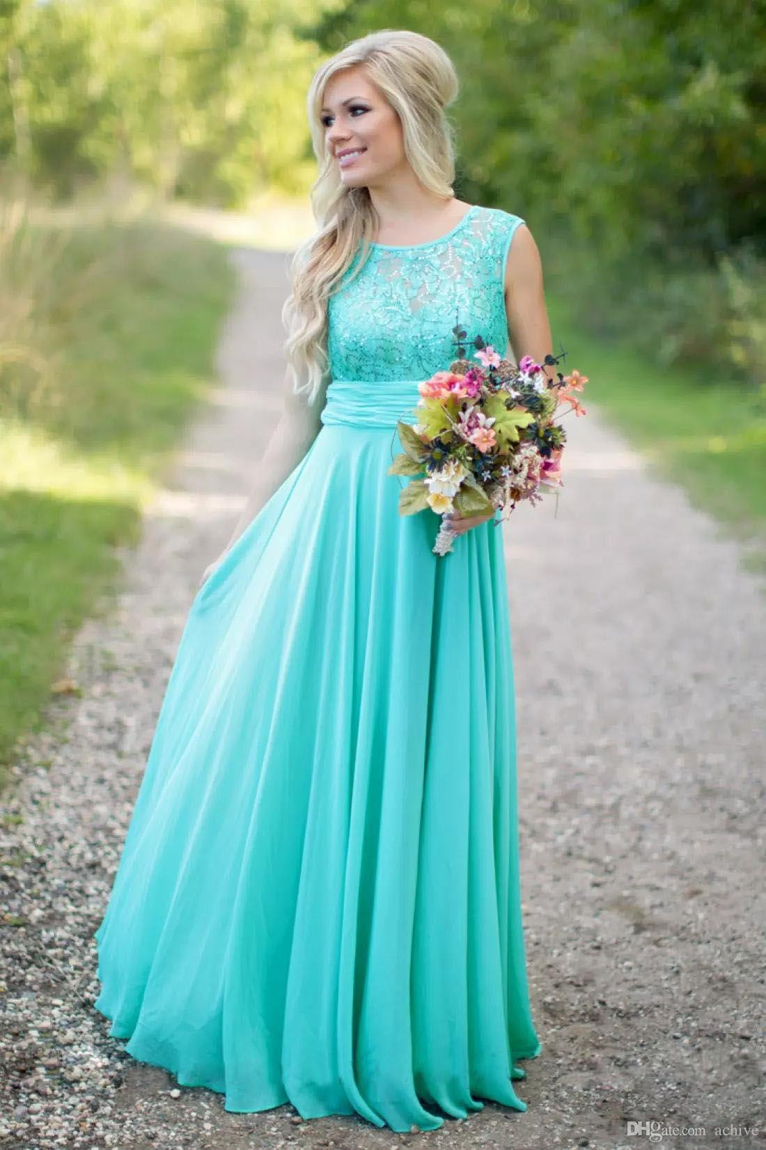 2018 Teal Country Bridesmaids Dresses Lace Sequins Chiffon Cheap ...