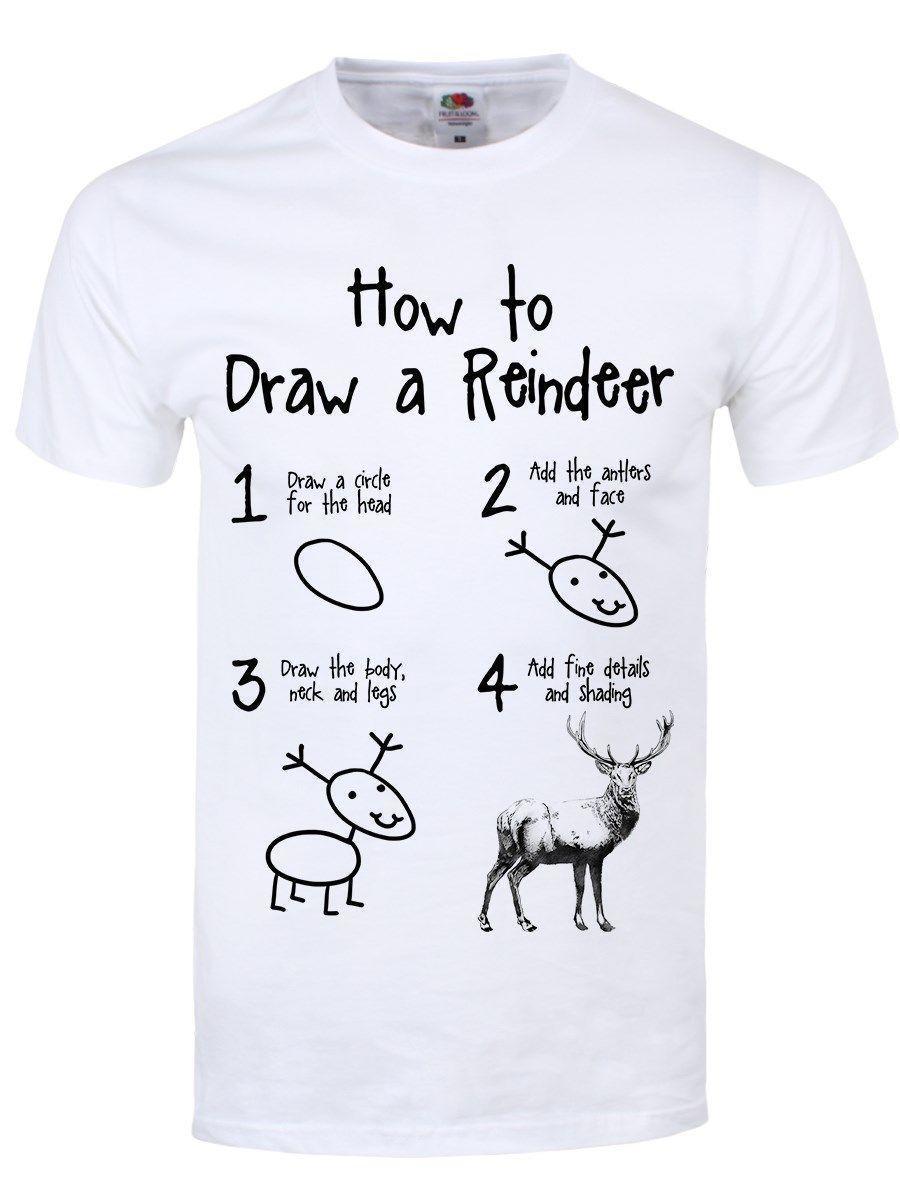 ade959d7 How To Draw A Reindeer Men's White T-shirt Printed T-Shirt Men'S Short  Sleeve O-Neck T-Shirts Summer Stree Twear