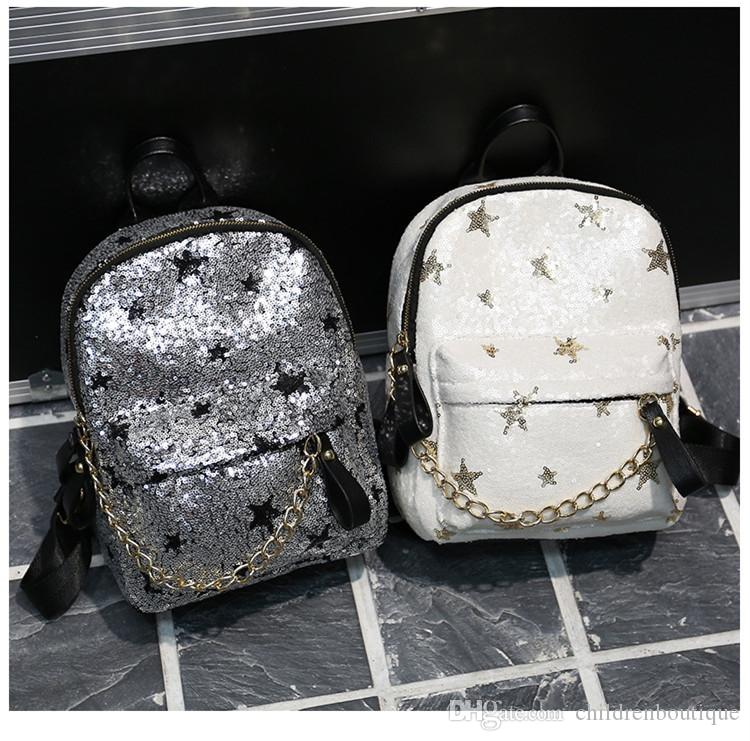 Fashion Teenager Backpack Children School Bags Cartoon Sequins Stars  Shoulders Bags Girls Travel Leisure Bags Christmas Gifts For Kids Small  Backpacks ... 3d5694963ae65