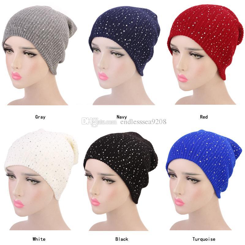a00d904c8f0 Muslim Women Drill Winter Hat Warm Knit Cap Beanie Sleep Chemo ...