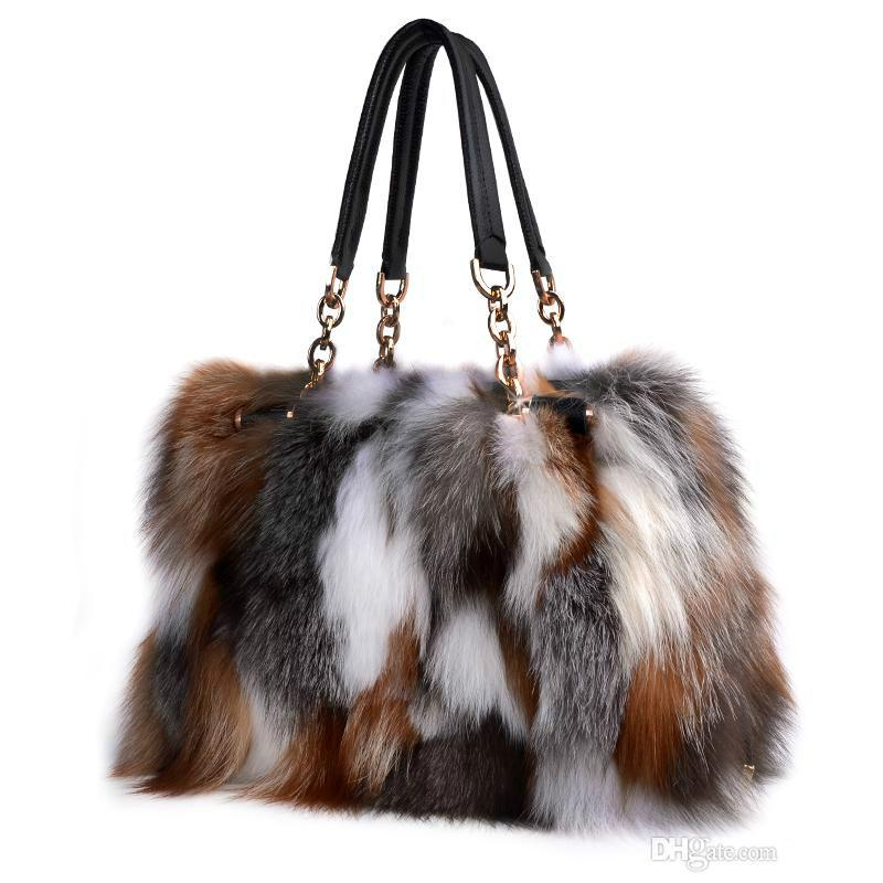 8af6619cdaa2 Fox Fur Handbags Fashion Women Winter Luxury Bag Genuine Leather Shoulder  Bags Bolsa Feminine Messenger Bags Leather Purse Leather Goods From  Shunian