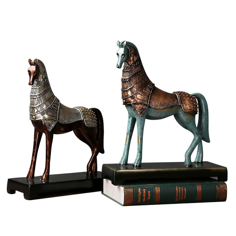 Resin Horse Figurine Modern Vintage Home Decoration Weaving Horse Figurine Handicrafts Animal Craft Gift For Home Office Decor