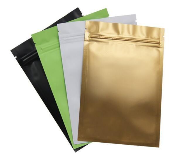 Pink/Gold/Green/black color Metallic Mylar ziplock bags flat bottom Black Aluminum foil small zip lock plastic bags