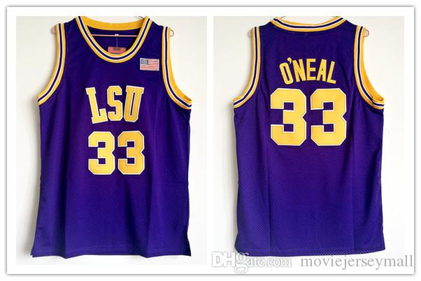 711684e85bd Shaq Lsu Jersey Oneal jersey retro NCAA college Jersey yellow purple Men's  Embroidery basketball jerseys
