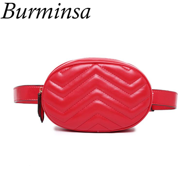 2eec8b212c78 Burminsa Fanny Pack Women Belt Bags Quilted PU Leather Waist Bags Female  Shoulder Designer Chest Handbags 2018 Black Red Fannypack Shoe Bags From  Camelino