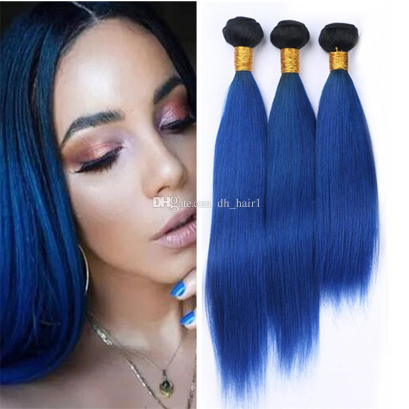 Black And Blue Ombre Peruvian Hair Weave 3 Bundles Silky Straight 2