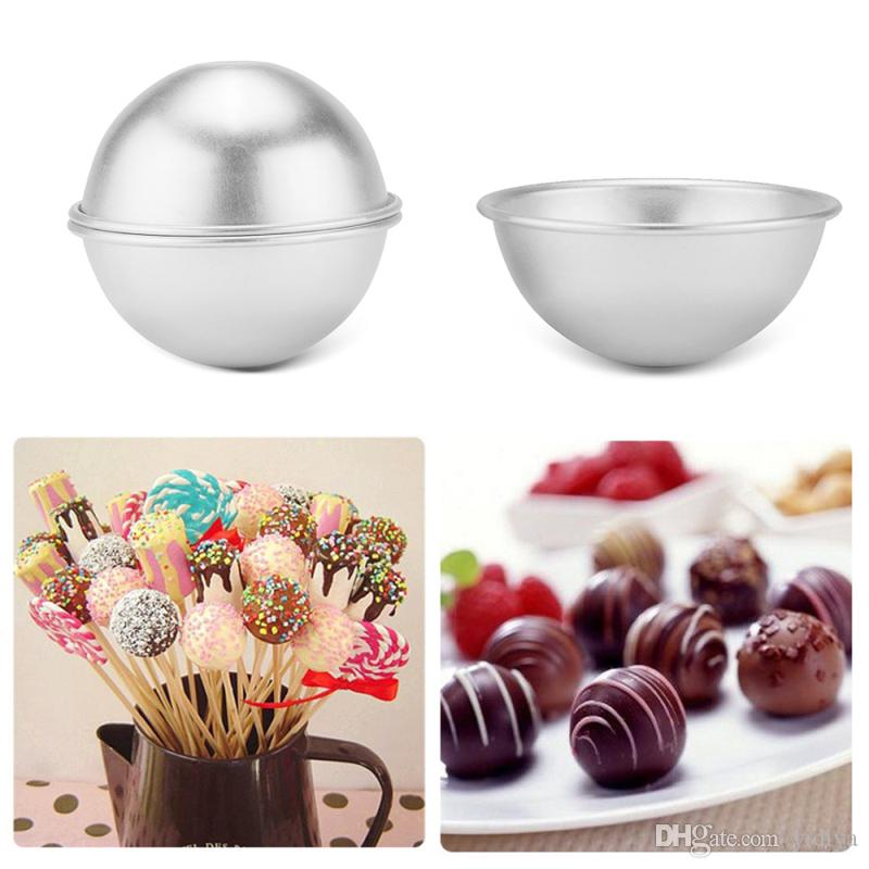 Baker tool 3D Aluminum Alloy Ball Bath Bomb Mold Sphere Cake Pan Sugarcraft Bakeware Decorating Molds Cake Baking Pastry Mould
