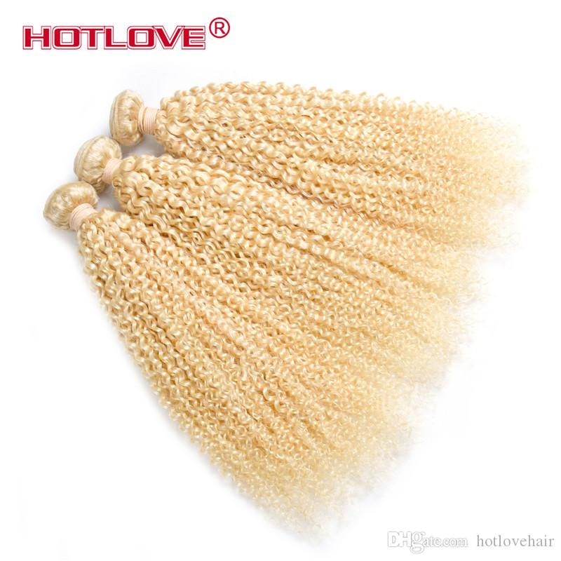 HOTLOVE 613 Blonde Kinky Curly 4 Bundles /Brazilian Virgin Human Hair Extension Top Sale Quality Honey Blonde Curly Weaving Hair Weft 8A