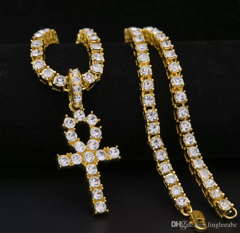 2018 Iced Out Egyptian Key Pendant Necklace Gold Plated Hip Hop Black  Crystal Cuban Link Chain Men Jewelry Accessories 5.5mm 24in Jewelry Necklace  Fashion ... f34234697756