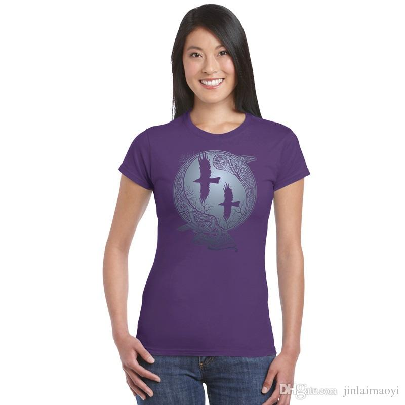 9c6e368d1 Girl Basic Cotton T Shirt Summer Vikings TV Series Odin's Raven Ragnar  Lodbrok Top Tee Womens Casual Sportwear Fitness T-shirt Women T-shirts Lady  Tees Girl ...