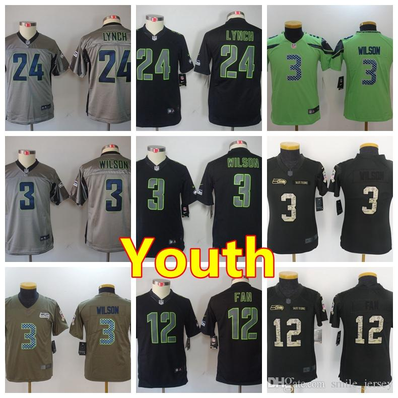 fe1c4dc55 2018 Youth 3 Russell Wilson Seattle Seahawks Football Jersey 100% Stitched  Embroidery 12th Fan 24 Marshawn Lynch Color Rush Football Boys Jersey From  ...