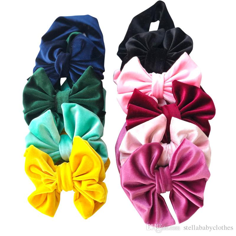 Fashion Velvet 14cm Bow Headbands New Style Children Elastic Hair Accesories Birthday Party Babies Stretchy Hair Accessories