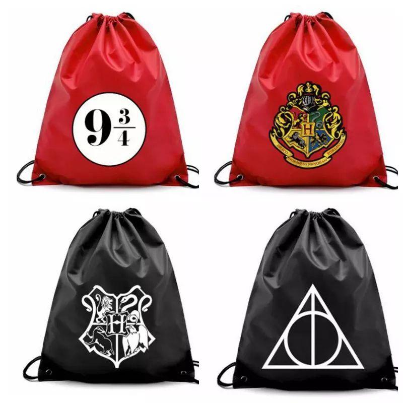 3ef6af242aee 2018 Harry Potter Drawstring Pocket Bags Fashion School Canvas Bag ...