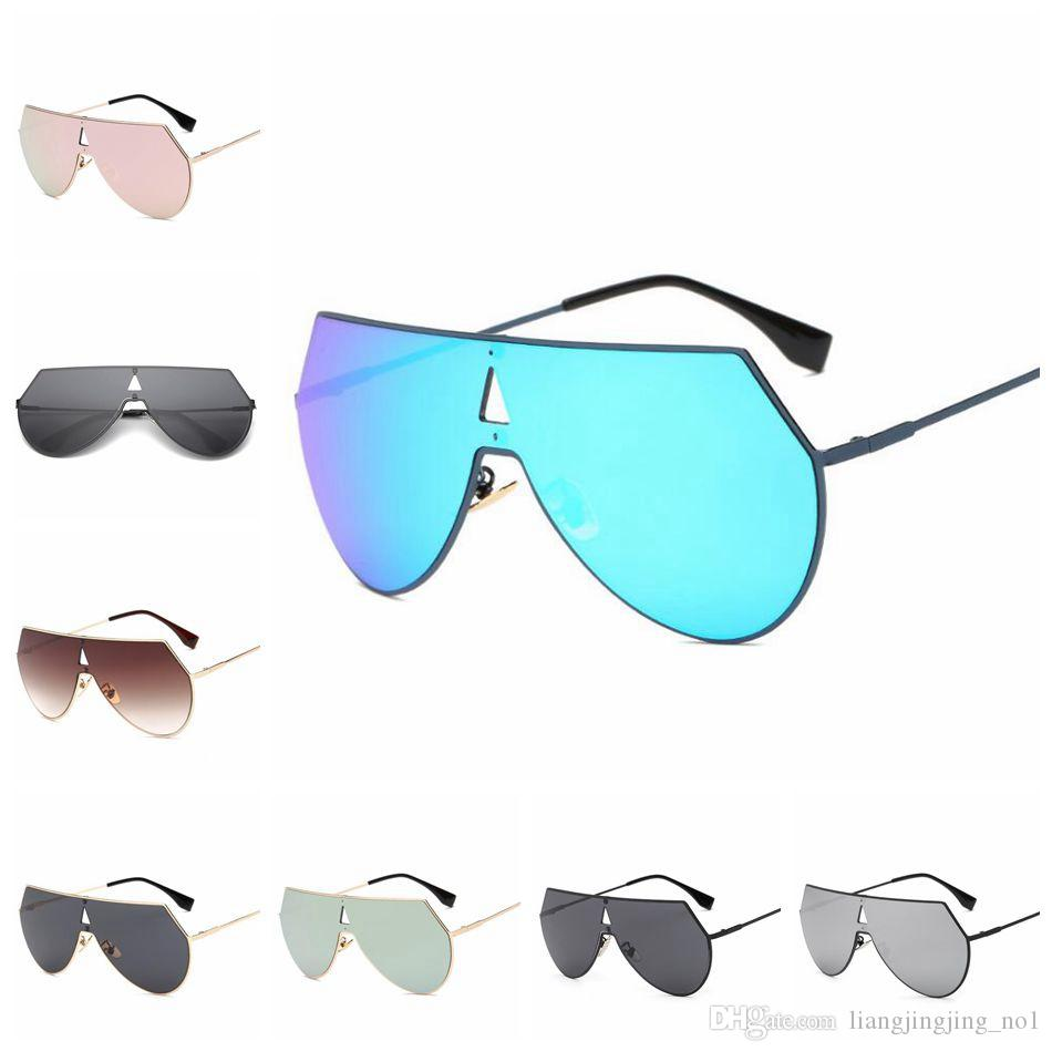 a97a76dd3e4 One Piece Lens Sunglasses Metal Oversized Vintage Sunglasses Unique Flat  Big One Piece Lens Rimless Sunglasses OOA4683 One Piece Sunglasses  Oversized ...