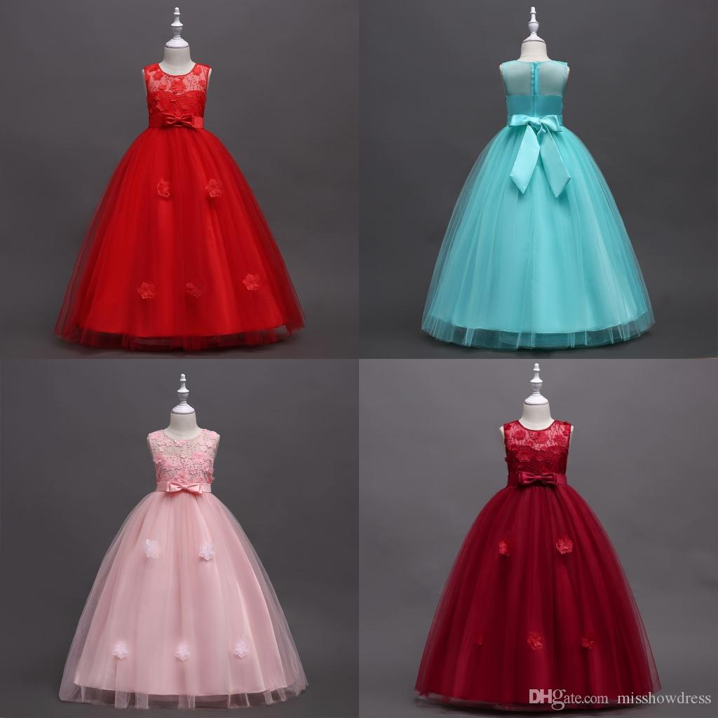 2018 Cute Pink Ball Gown Flower Girls Dresses Sheer Jewel Neck Red Hand made Flowers Sleeveless Bow Sash Cheap Girls Pageant Dresses MC1497