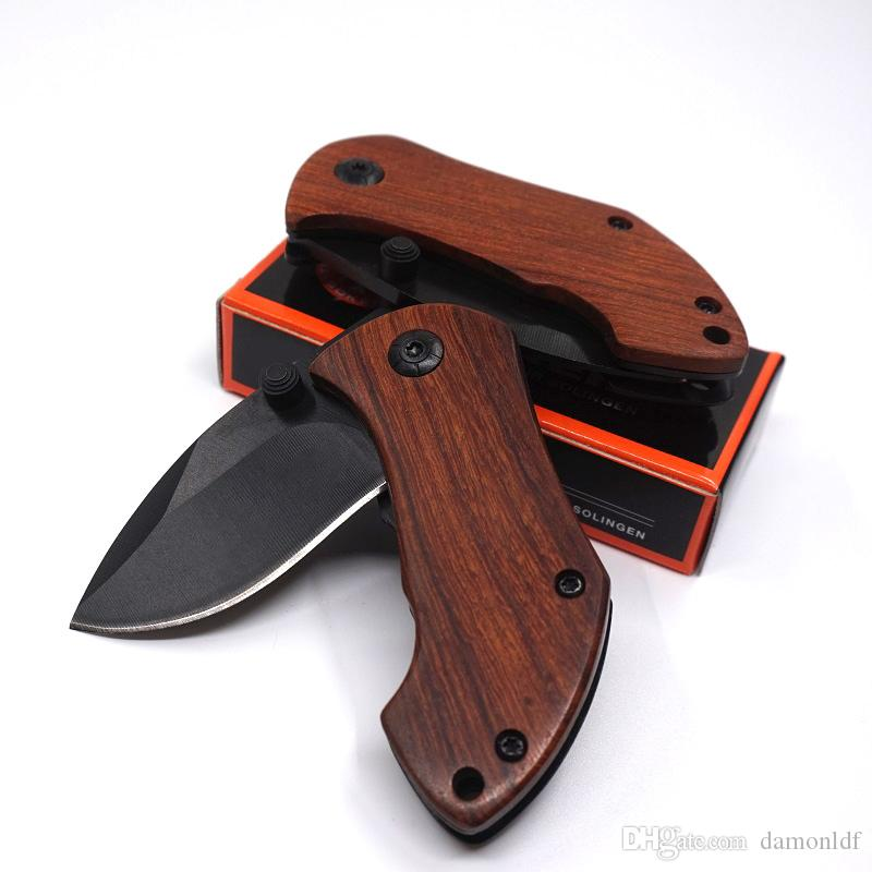 DA33 Pocket Folding Blade Knife Camping Pocket Knife EDC 440C Steel Blade Wood Handle Small Gift Hunting Survival Outdoor Knife