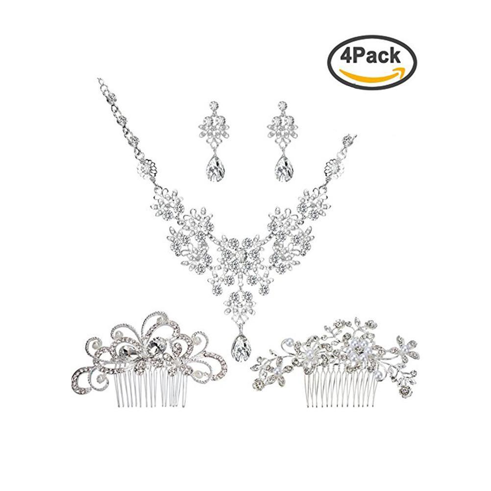 890a90fc PIXNOR Novia Conjunto de Joyas de Boda de Cristal Rhinestone Collar de  Perlas de Faux Pendientes con Conjuntos de Peine de Cabello para Fiesta de  ...
