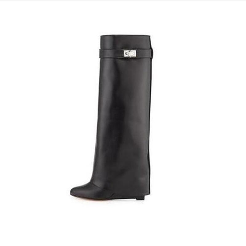 d8d4b077506 Sexy Shark Lock Wedge Knee High Boots Turned Over Strap Winter Long Boots  Woman Black Leather Wedge Boots Big Size 10 Free Ship Green Boots Cute  Shoes From ...