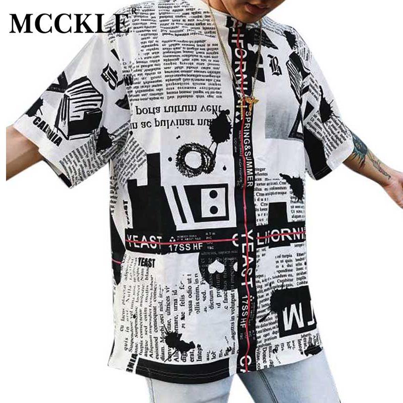 c202fa0f4 MCCKLE 2018 Summer Newspaper Print T Shirts Mens HipHop Short T Shirts  Unisex Harajuku Couple Short Sleeve T Shirt Fun T Shirts Online Shirts From  ...