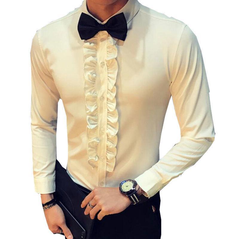 Grosshandel Retro Shirt Herren Hochzeit Party Ruschen Vintage Shirt