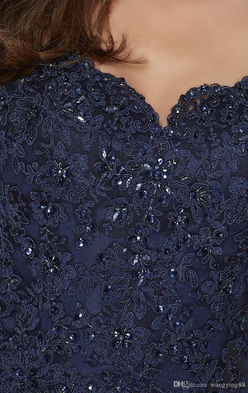 Marineblau Silber Mutter der Braut Kleider Elegant Mantel Spitze Knielangen Kurze Frauen tragen Abend Hochzeit Kleid