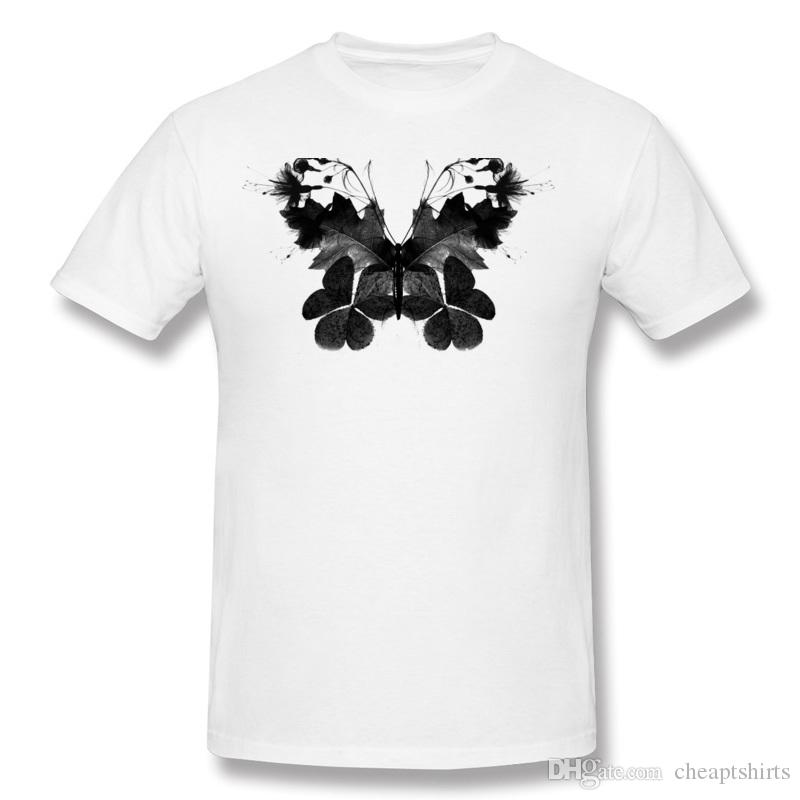 Fashion Men 100 Cotton Leaves and flowers turned into butterfly T Shirt Men O Neck Dark Green Short Sleeve Tee Shirt Plus Size Printed On T