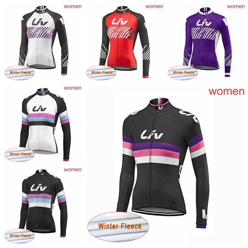 LIV Team Cycling Jersey Winter Thermal Fleece Long Sleeve Bicycle ... 0b0a63477