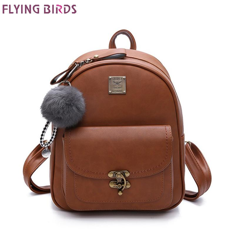 FLYING BIRDS! School bags for women leather printing backpacanti theft school book bag travel women bag high quality a4461