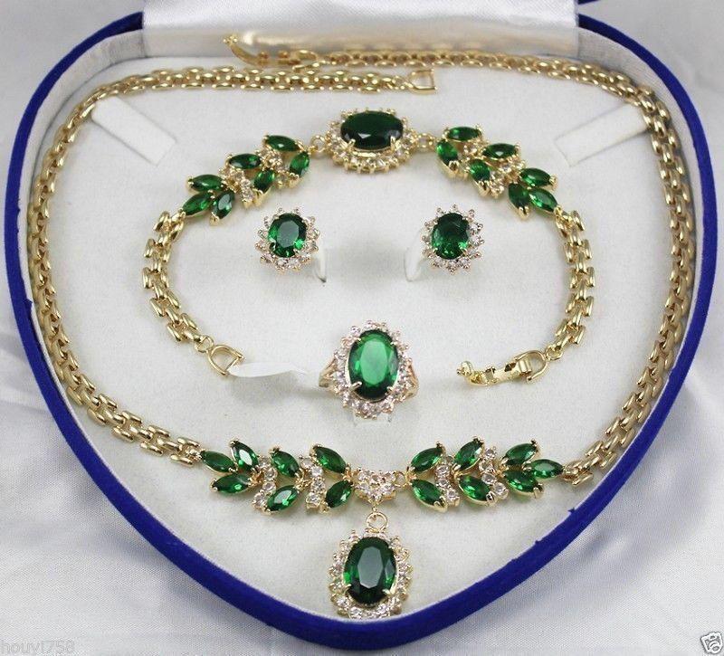 Schön! Schmuck Damen Set Grün Kristall Halskette Ohrring Ring Armband + Box