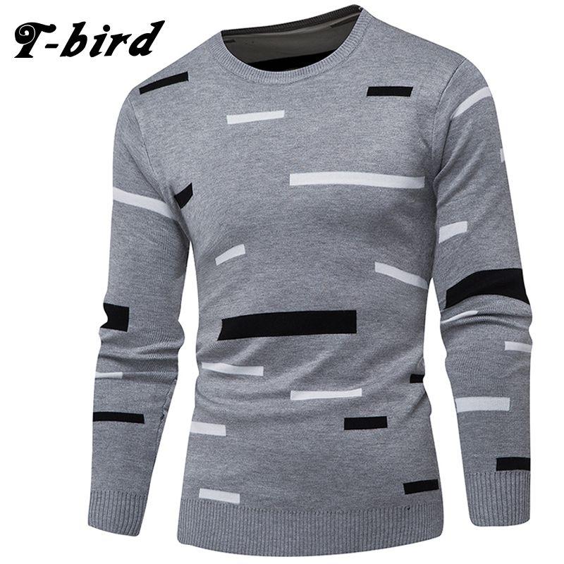 cheap for discount 9a9a3 116a7 T-Bird 2018 Marke Kleidung Männer Pullover Einfache Block Mode Oansatz Slim  Fit Männlichen Casual Pullover Männer Pullover Stricken Herren XXXL