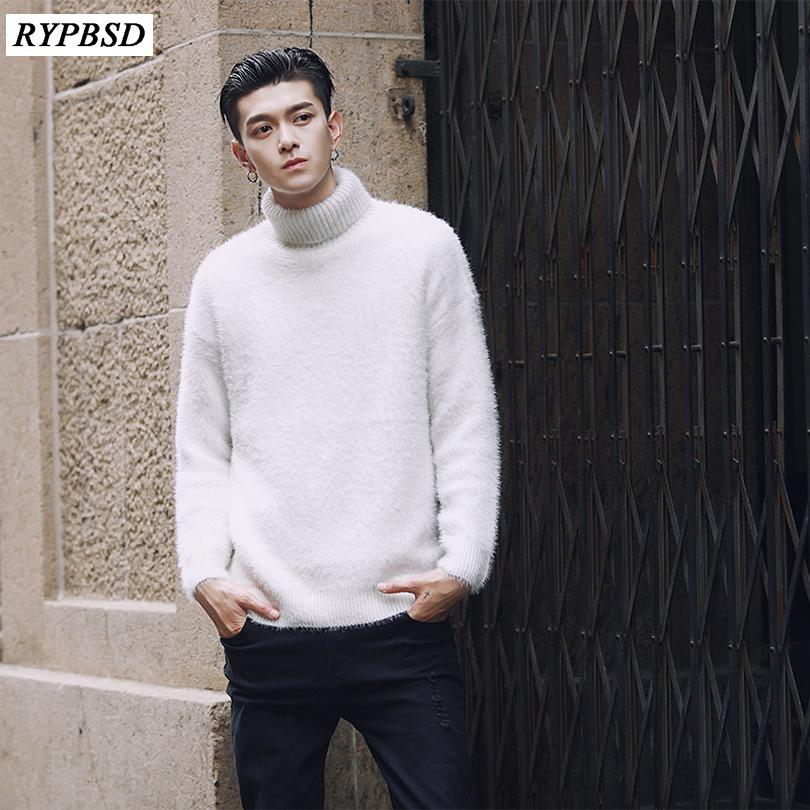 2019 Winter Turtleneck Sweater Men Knitted White Christmas Sweater
