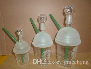 bangs starbuck 10mm mixte mini bangs de verre tasse de Starbucks tuyaux en verre sablé pour fumer plates-formes pétrolières bongs en verre et narguilé