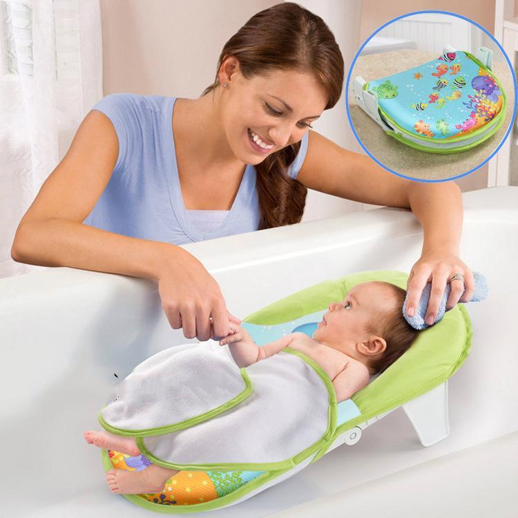 2018 Newborn Baby Bathtub Foldable Shower Chair Safey Bath Tub For ...