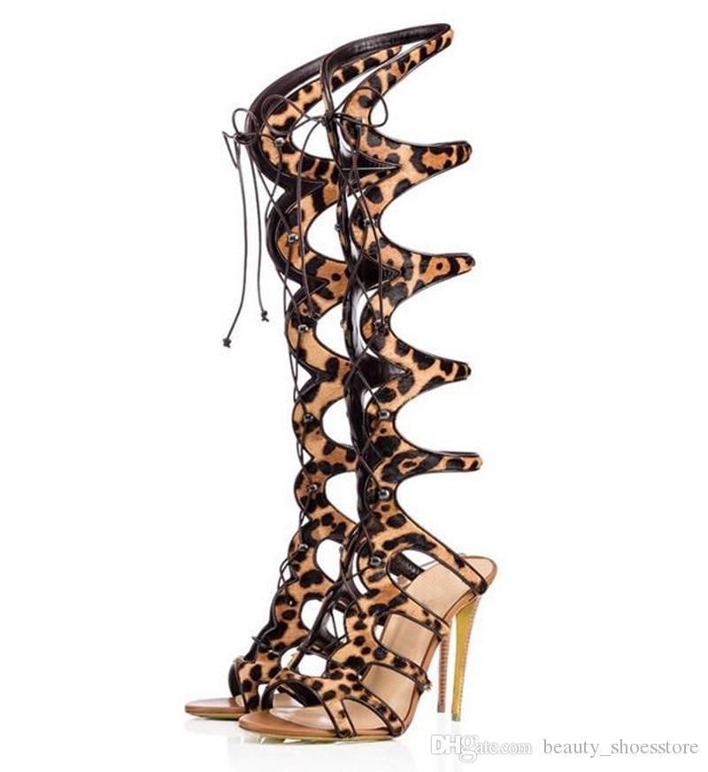 Bottes Léopard À Lacets Out Hauts Talons Bande Creux Imprimer Plus De Mode Chaussures Femmes Étroite Discothèque Sexy Sandales jGMVzSULqp